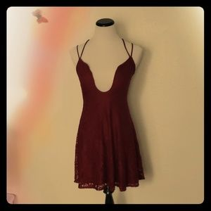 Charlotte Russe Red Plunging V-Neck Dress Size M